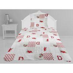 prošívaný přehoz na postel s polštářem, 180x220 cm, bílá a červená