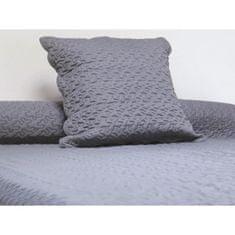 prošívaný přehoz na postel se dvěma polštáři, 220x240 cm, šedá