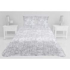 prošívaný přehoz na postel se dvěma polštáři, 260x240 cm, šedá