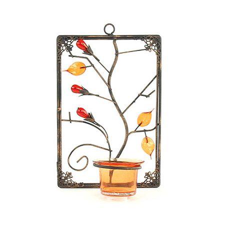 Sunchi Świecznik , 857-Świecznik na ścianie prostokąt pomarańczowy