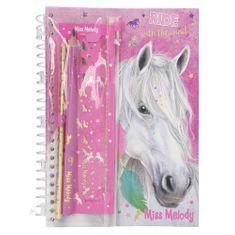 Zápisník s písacou súpravou Miss Melody, Miss Melody, ružový