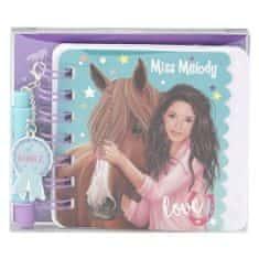 Miss Melody Spirálový bloček ASST, Love, s mini propiskou