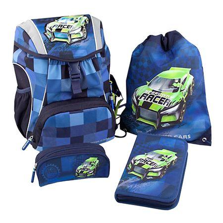 Monster Cars iskolai hátizsák, Kék, zöld autóval - Alex
