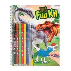 Dino World Kolorowanki , Zabawny zestaw, 6 markerów