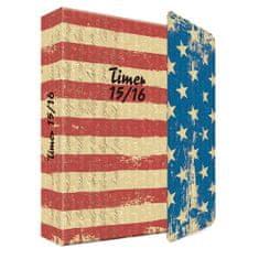 Trötsch Verlag Školní diář Edition A. Trötsch, motiv vlajky USA, 11 x 15 cm