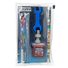 Monster Cars Psací set , 5 ks, tužka, pravítko, 2 x guma, ořezávátko