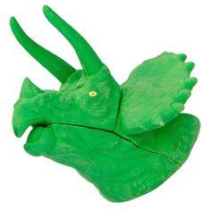 Dino World Gumovací pryž ASST, Zelený Triceratops, 3D puzzle
