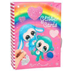Ylvi and Minimoomis Állítsa be az Ylvi és a Minimoomis képeslapok létrehozására, 6 színű csillogás locsoláshoz, 8 kártya