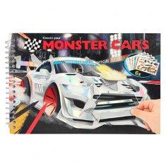 Monster Cars Omalovánky, kreativní sada , Stříbrné závodní auto, 6 archů samolepek