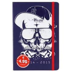 Trötsch Verlag Školský diár AT Edition A. Trotsch, motív lebky, modrý