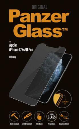 PanzerGlass Privacy zaščitno steklo za iPhone X/Xs/11 Pro, CamSlider, Edge-to-Edge, črno