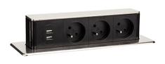 Solight USB výsuvný blok zásuviek, 3 zásuvky, predlžovací prívod 1,9 m, obdĺžnikový tvar, strieborný, PP126