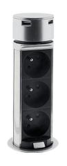 Solight USB výsuvný blok zásuviek, 3 zásuvky, predlžovací prívod 1,5 m, kruhový tvar, strieborný, PP125