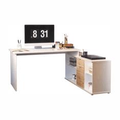 Písací stôl, biela/dub wotan, DALTON 2 NEW