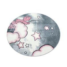 Jutex Detský koberec Kids 580 ružový kruh, Rozmery 1.20 x 1.20