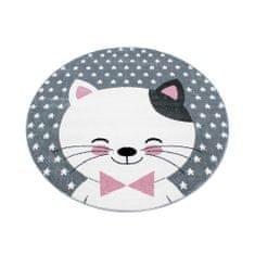 Jutex Detský koberec Kids 550 ružový kruh, Rozmery 1.20 x 1.20