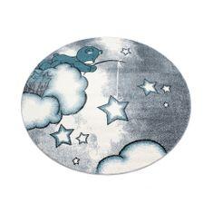 Jutex Detský koberec Kids 580 modrý kruh, Rozmery 1.20 x 1.20