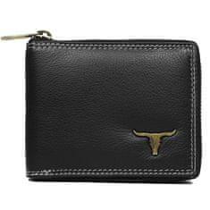 Buffalo Wild Originální pánská kožená peněženka Buffalo, černá se zipem