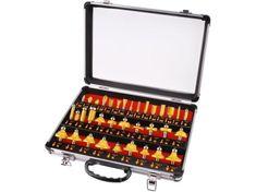 Extol Premium frézy tvarové do dřeva s SK plátky, sada 35ks, stopka 8mm, v kovovém kufru, SK, EXTOL PRE