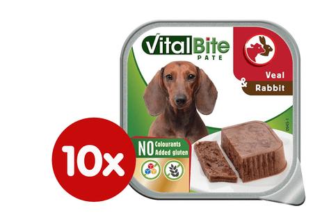 VitalBite Kutyakonzerv húsdarabok nyúl és borjú hússal 10 x 150 g