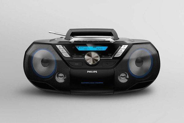 radiomagnetofon philips azb798t Bluetooth 90s design fm dab dab+ tuner 20 předvoleb dosah 10 m cd mechanika kazetový přehrávač usb direct audio in vstup reproduktory 12 w akumulátorový provoz