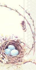 IHR Ptačí hnízdo s vajíčky papírové koktejlové ubrousky, IHR