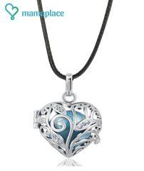 MummyBell MummyBell dámsky náhrdelník Rolnička Srdiečko strieborne - metalická modrá