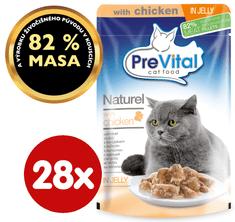PreVital pokarm dla kotów NATUREL z kurczakiem w galarecie 28 x 85 g