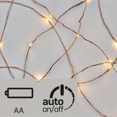 Emos 10 LED nano svetlobna veriga, 0,9 m, 2x AA, toplo bela, s časovnikom, bronasta