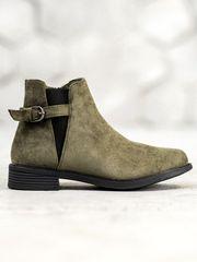 Praktické zelené dámské kotníčkové boty na plochém podpatku + dárek zdarma