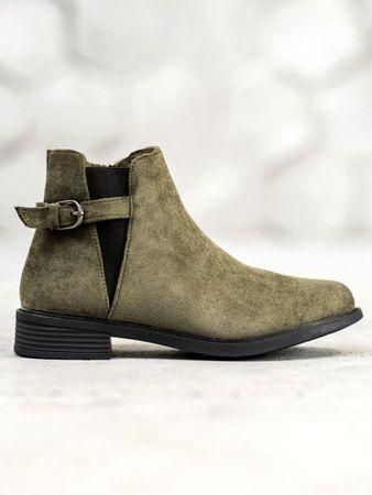 Praktické zelené dámské kotníčkové boty na plochém podpatku + dárek zdarma, odstíny zelené, 41