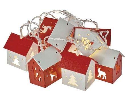 Emos božična girlanda, 3D hiške, 10 LED, 2 x AA, toplo bela, časovnik