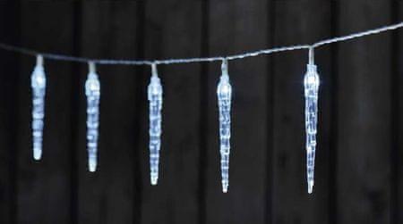 Emos božična girlanda, ledena cev, 10 LED, 2 x AA, hladno bela, časovnik