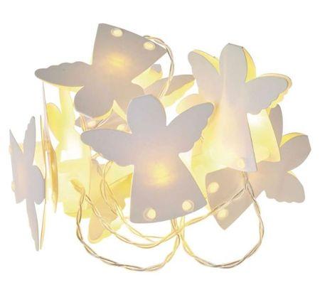 Emos božična girlanda, papirni angeli, 10 LED, 2 x AA, toplo bela, časovnik