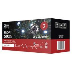 Emos PROFI povezovalni niz, veriga, 50 LED, 5 m, črn, hladna bela