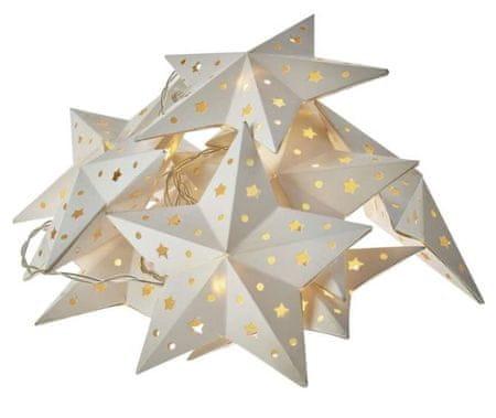 Emos božična girlanda, zvezde, 10 LED, 2 x AA, toplo bela, časovnik