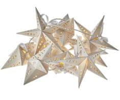 Emos božična girlanda, kovinske zvezde, 10 LED, 2 x AA, toplo bela, časovnik
