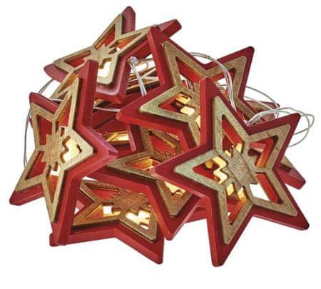 Emos božična dekoracija zvezde, rdeče, 10 LED, 2 x AA, toplo bela, časovnik