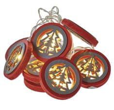 Emos božična dekoracija božično drevo, rdeče, 10 LED, 2 x AA, toplo bela, časovnik