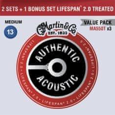 Martin Authentic Lifespan 2.0 92/8 Phosphor Bronze Medium - Limited 3 Packs Kovové struny na akustickú gitaru