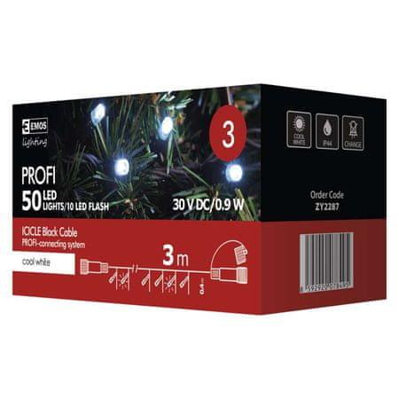 Emos Profi 50 LED povezovalni niz, ledene sveče, 3 m, IP44, hladno bela, utripajoče, črn