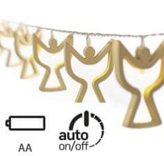 Emos LED vánoční girlanda – dřevění andělíčci, 2× AA, teplá bílá, časovač