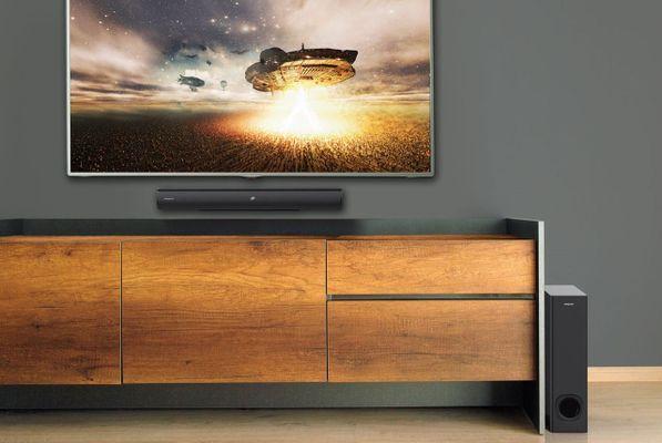 creative stage dvd reproduktor soundbar subwoofer výkon 160 w Bluetooth dosah 10 m aux vstup optický vstup hdmi tv arc ekvalizér diaľkové ovládanie basový zvuk