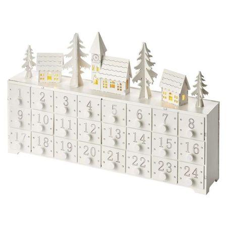 Emos Advent House dekoracija, adventni koledar, 3 LED, 2 AA, toplo bela