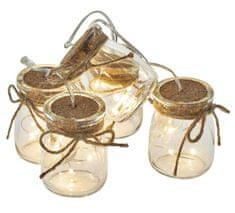 Emos božična girlanda, stekleni kozarčki, 15 LED, 3 x AA, toplo bela, časovnik