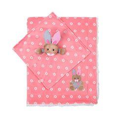 BABY ONO dwustronny kocyk minky z króliczkiem - różowy
