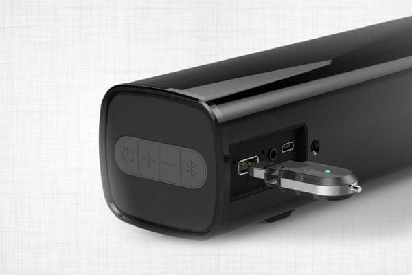 creative stage air reproduktor soundbarového typu elegantné prevedenie Bluetooth bezdrôtová technológia batérie s výdržou 6 h na nabitie rms výkon 10 w max výkon 20 w tlačidlá usb rozhranie aux usb port plug and play