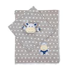 BABY ONO Kétoldalas minky babatakaró szundikendővel - szürke