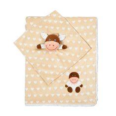 BABY ONO dvostrani meki pokrivač, slika krave, bež