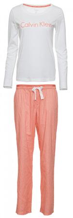Calvin Klein dámske pyžamo QS6350E L/S Pant Set S lososová